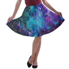 Space Galaxy A-line Skater Skirt by walala