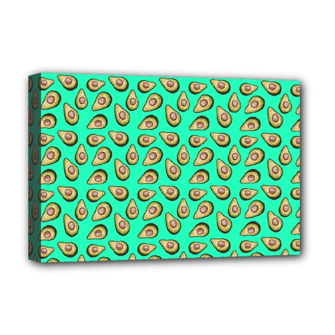 Tropical Aqua Avocadoes Deluxe Canvas 18  X 12  (stretched)