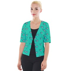Zodiac Bat Pink Teal Cropped Button Cardigan