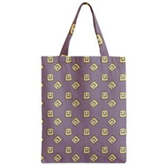Happy Toast Grey Zipper Classic Tote Bag