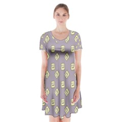 Happy Toast Grey Short Sleeve V Neck Flare Dress