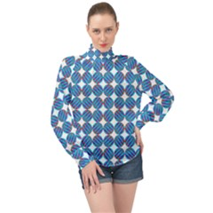 Geometric Dots Pattern High Neck Long Sleeve Chiffon Top by Jojostore