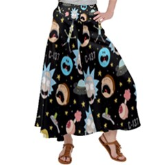 Rick And Morty Pattern Satin Palazzo Pants by Valentinaart