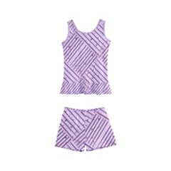 Wood Texture Diagonal Weave Pastel Kids  Boyleg Swimsuit