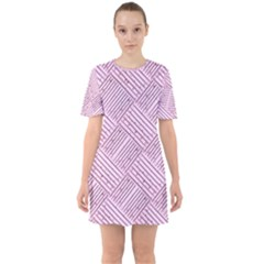 Wood Texture Diagonal Weave Pastel Sixties Short Sleeve Mini Dress