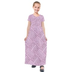 Wood Texture Diagonal Weave Pastel Kids  Short Sleeve Maxi Dress by Mariart