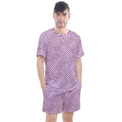 Wood Texture Diagonal Weave Pastel Men s Mesh Tee And Shorts Set by Mariart