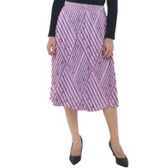 Wood Texture Diagonal Weave Pastel Classic Velour Midi Skirt  by Mariart