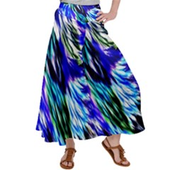 Abstract Background Blue White Satin Palazzo Pants by Alisyart