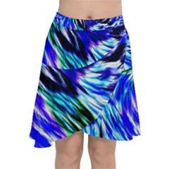 Abstract Background Blue White Chiffon Wrap Front Skirt