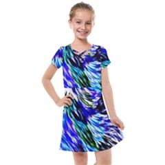 Abstract Background Blue White Kids  Cross Web Dress