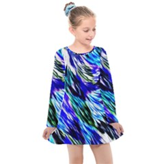 Abstract Background Blue White Kids  Long Sleeve Dress by Alisyart