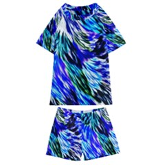 Abstract Background Blue White Kids  Swim Tee And Shorts Set