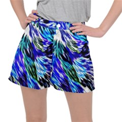 Abstract Background Blue White Ripstop Shorts