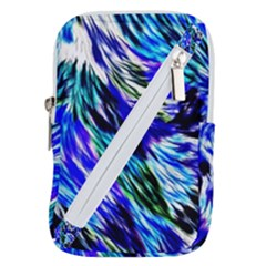 Abstract Background Blue White Belt Pouch Bag (small)