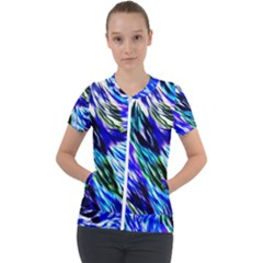 Abstract Background Blue White Short Sleeve Zip Up Jacket