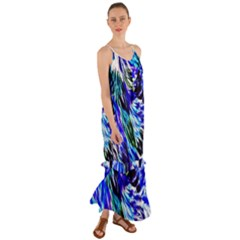 Abstract Background Blue White Cami Maxi Ruffle Chiffon Dress