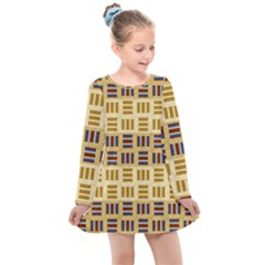 Texture Fabric Material Kids  Long Sleeve Dress by AnjaniArt