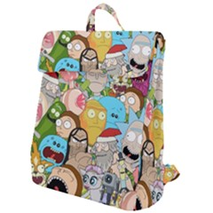 Rick And Morty Pattern Flap Top Backpack by Valentinaart