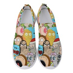 Rick And Morty Pattern Women s Slip On Sneakers by Valentinaart