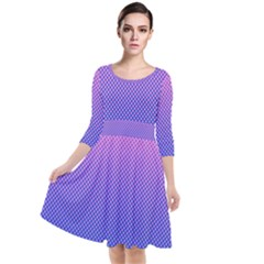 Dot Background Pattern Halftone Quarter Sleeve Waist Band Dress
