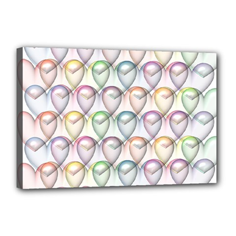 Valentine Hearts Canvas 18  X 12  (stretched)