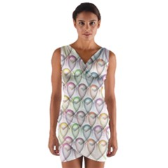 Valentine Hearts Wrap Front Bodycon Dress