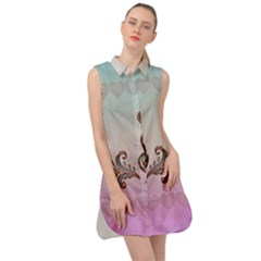 Abstract Decorative Floral Design, Mandala Sleeveless Shirt Dress