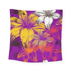 Fancy Tropical Floral Pattern Square Tapestry (small) by tarastyle