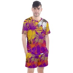 Fancy Tropical Floral Pattern Men s Mesh Tee And Shorts Set by tarastyle