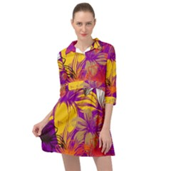 Fancy Tropical Floral Pattern Mini Skater Shirt Dress by tarastyle