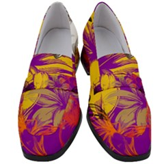 Fancy Tropical Floral Pattern Women s Chunky Heel Loafers by tarastyle