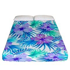 Fancy Tropical Floral Pattern Fitted Sheet (king Size) by tarastyle