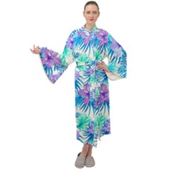 Fancy Tropical Floral Pattern Maxi Tie Front Velour Kimono by tarastyle