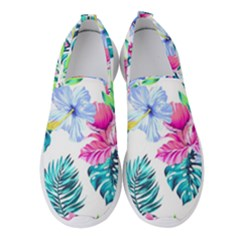 Fancy Tropical Floral Pattern Women s Slip On Sneakers by tarastyle