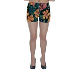 Fancy Tropical Floral Pattern Skinny Shorts by tarastyle