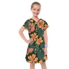 Fancy Tropical Floral Pattern Kids  Drop Waist Dress