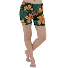 Fancy Tropical Floral Pattern Lightweight Velour Yoga Shorts by tarastyle