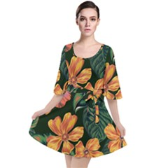 Fancy Tropical Floral Pattern Velour Kimono Dress by tarastyle
