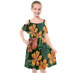 Fancy Tropical Floral Pattern Kids  Cut Out Shoulders Chiffon Dress by tarastyle