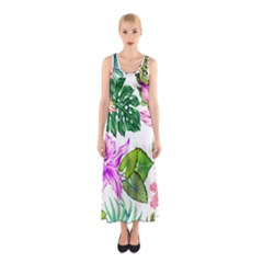 Fancy Tropical Floral Pattern Sleeveless Maxi Dress by tarastyle