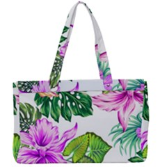 Fancy Tropical Floral Pattern Canvas Work Bag by tarastyle