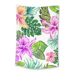 Fancy Tropical Floral Pattern Small Tapestry by tarastyle