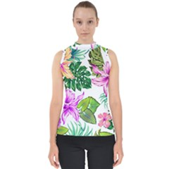 Fancy Tropical Floral Pattern Mock Neck Shell Top by tarastyle