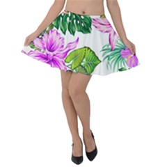 Fancy Tropical Floral Pattern Velvet Skater Skirt by tarastyle
