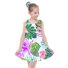 Fancy Tropical Floral Pattern Kids  Summer Dress by tarastyle