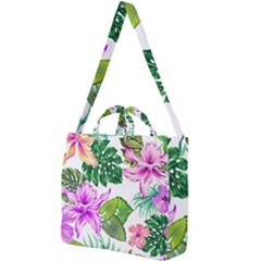 Fancy Tropical Floral Pattern Square Shoulder Tote Bag by tarastyle