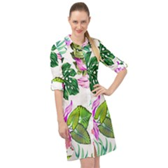 Fancy Tropical Floral Pattern Long Sleeve Mini Shirt Dress by tarastyle
