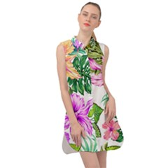 Fancy Tropical Floral Pattern Sleeveless Shirt Dress by tarastyle