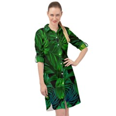 Fancy Tropical Floral Pattern Long Sleeve Mini Shirt Dress